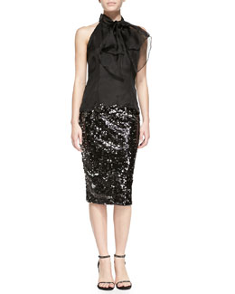 Milly Gwyneth Bow-Neck Organza Top & Sequined Slim Pencil Skirt
