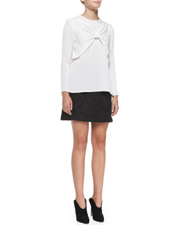 Milly Bow-Front Stretch-Silk Top & A-Line Tweed Miniskirt