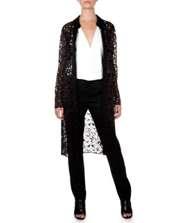 Lanvin Sheer Lace Jacket, V Illusion Insert Blouse and Flat Front Trousers