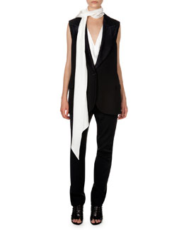 Lanvin Woven Single-Button Vest, V Illusion Insert Blouse & Flat Front Trousers