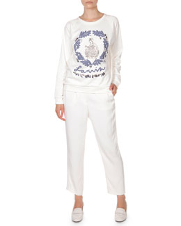Lanvin Special Anniversary Edition Sweatshirt & Self-Belted Ankle Pants