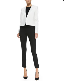 Theory Nabiel C Boxy Suit Jacket, Umalda Fluidity Cap-Sleeve Top & High-Waist Cropped Suit Pants