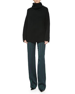 Theory Naven Oversize Knit Turtleneck Sweater & Pajeema Striped Polished PJ Pants