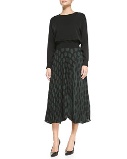 Theory Delpy Double-Georgette Blouson Top & Zeyn Pleated Dotted Chiffon Skirt