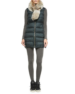 Theory Womira Fur-Collar Puffer Coat, Kamera Long-Sleeve Slub Tee & Terza Stretch-Slub Leggings