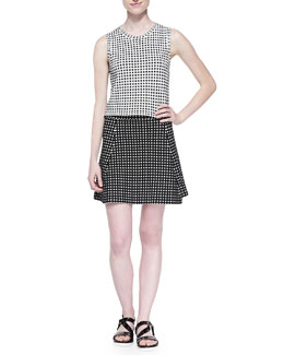 Theory Breeta D Sleeveless Dot-Print Crop Top & Doreene D Dot-Print A-Line Skirt
