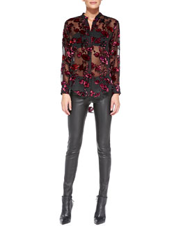 Alice + Olivia Sheer Floral Velvet Burnout Blouse & Leather Leggings