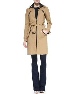 Veronica Beard  Scuba Dickey Trench Coat, Tiered Muscle Tee & Flare-Leg Dark Stretch Jeans