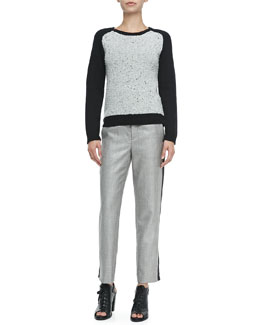 Rag & Bone Portia Pullover with Solid Sleeves & Wool-Blend Trousers W/ Sport Stripe