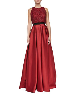 Carmen Marc Valvo Metallic Lace Crop Top & Satin Pleated Ball Skirt with Pockets