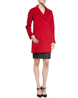 Elie Tahari Dalia Double-Breast Hidden-Placket Coat & Lane Combo Calf Hair/Leather Sheath Dress