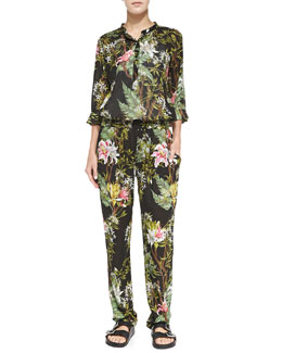 Isabel Marant Etoile Wescott Floral-Print Henley Blouse & Wilford Floral-Print Tapered Pants, Black