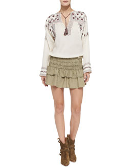Isabel Marant Etoile Vicky Floral-Embroidered Tassel Blouse & Crista Smocked Ruffle-Tiered Skirt