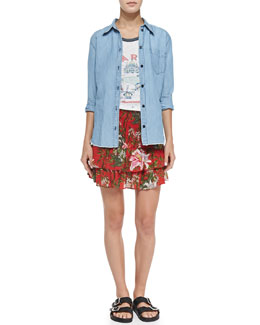 Isabel Marant Etoile Sade Linen-Blend Chambray Shirt, Kiliann Paris Linen Graphic Tee & Wilma Floral-Print Smocked Ruffle-Tiered Skirt
