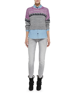 Isabel Marant Etoile Reply Greek Key Colorblock Crop Sweater, Sade Linen-Blend Chambray Shirt & Arno Zigzag Stripe-Embellished Ankle Jeans