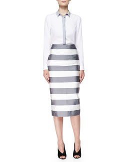 Burberry London Long-Sleeve Shirt W/ Colorblocked Placket & Striped Midi-Length Pencil Skirt