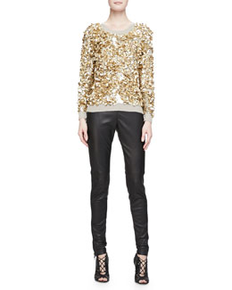 Burberry London Cashmere-Blend Crushed Sequin Sweater & Side-Paneled Leather Leggings