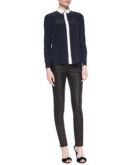Burberry London Colorblock Hidden-Button Blouse & Side-Paneled Leather Leggings