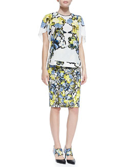Erdem Rakeen Silk Petal Top and Frida Printed Pencil Skirt