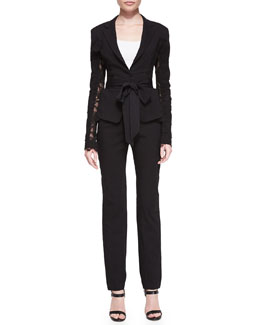 Donna Karan Lace-Detail Belted Blazer and Straight-Leg Pull-On Trousers