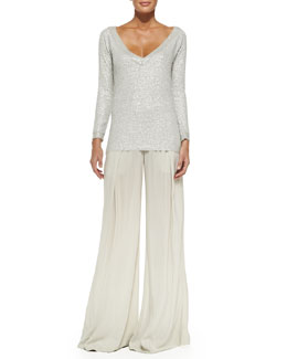 Donna Karan Cashmere Sequined V-Neck Top & Easy Pleated Full-Leg Pants