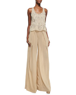 Donna Karan Embellished Double-Layer Tank Top & Easy Full-Leg Pants