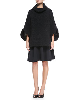 Giorgio Armani Boucle Cowl-Neck Poncho & Fit-and-Flare Dress with Pleated Cap Sleeves