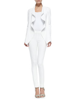 Donna Karan Draped Ruffle Jacket with Self Belt & Pull-On Poplin-Front Pants