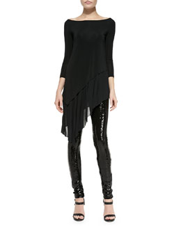 Donna Karan 3/4-Sleeve Asymmetric-Hem Tunic & Sequined-Front Skinny Pants