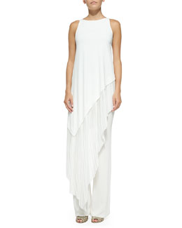 Donna Karan Sleeveless Asymmetric-Hem Tunic & Pull-On Fluted-Leg Pants