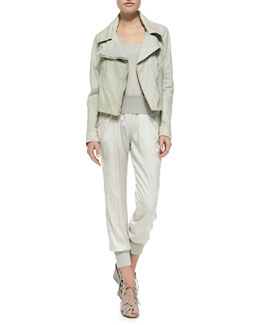 Donna Karan Asymmetric-Zip Leather Jacket, Scoop-Neck Tank Tunic & Ribbed-Trim Ankle Pants