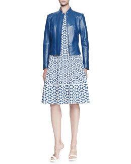 Alexander McQueen Glove Leather Jacket and Embossed Knit A-Line Dress