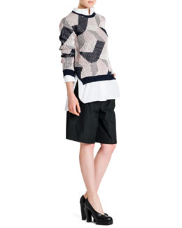 Abstract Intarsia Knit Sweater and One-Pocket Poplin Blouse