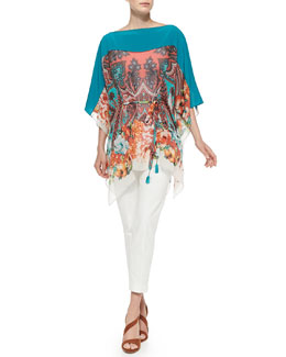 Etro Paisley Poncho Top W/ Self-Tie Belt & Cuffed Cigarette Capri Pants