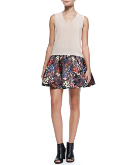 Alice + Olivia V-Neck Lace-Shoulder Tank & Fizer Pleated Floral-Print Skirt