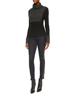 Tory Burch Gretchen Mixed-Knit Turtleneck Sweater & Harlow Leather-Side Slim Jeans