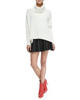 Alice + Olivia Atson Rib-Trim Knit Turtleneck & Akira Grommet-Stripe Leather Skirt