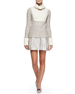 Tory Burch Gretchen Mixed-Knit Turtleneck Sweater & Kathleen Metallic Pleated Skirt