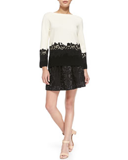 Tory Burch Dixie Sweater w/ Embroidered Lace Hem & Etta Box-Pleated Embroidered Lace Skirt