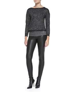 Alice + Olivia Celie V-Neck Sparkly Pullover & Lamb Leather Leggings