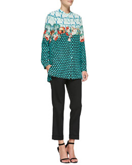 Etro Plaid, Floral & Grid-Print Silk Blouse & Cuffed Cigarette Capri Pants