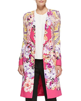Etro One-Button Paisley & Floral Cardigan & 1/2-Sleeve Hidden-Placket Silk Blouse