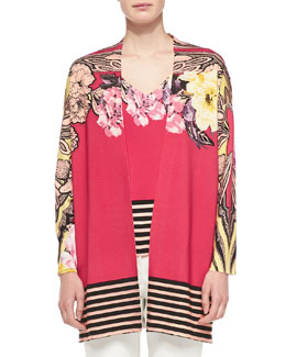 Etro Floral Cardigan W/ Striped Hem & Long-Sleeve Floral Top W/ Striped Hem
