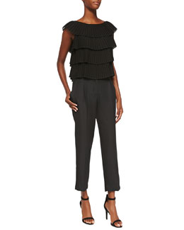 Milly Silk Pleated Layer Blouse & Tuxedo Pleated Crepe Pants