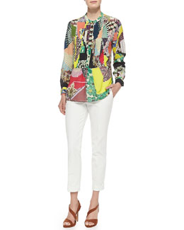 Etro Long-Sleeve Patch-Print Blouse W/ Peplum & Cuffed Cigarette Capri Pants