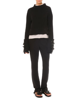 Embellished Split-Back Sweater, Poplin Bib Blouse & Slim Straight Pants