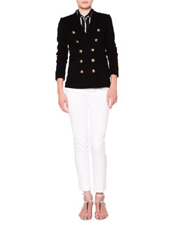 Emilio Pucci Double-Breasted Golden Button Jacket, Silk Striped Button-Front Blouse & Slim-Leg Pants