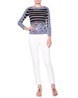 Emilio Pucci Square-Print Trim Boat-Neck Top & Slim-Leg Pants