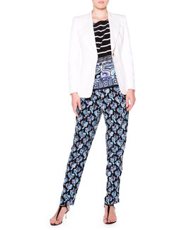 Emilio Pucci Twill Golden-Button Blazer, Border-Trim Boat-Neck Blouse & Silk Printed Pants