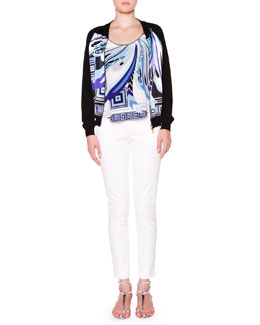 Emilio Pucci Printed-Front Bomber Jacket W/ Solid Back, Printed-Front Tank with Solid Back & Slim-Leg Pants